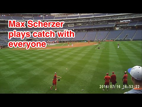 Max Scherzer plays catch with ALL the fans in right field at Nationals Park.