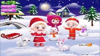 Cute Baby Christmas Fun - Fun With Baby Hazel Decorat The House & Make A Snowman - Games For Kids