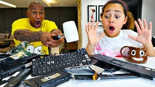 DESTROYING TIANA'S COMPUTER PRANK!!