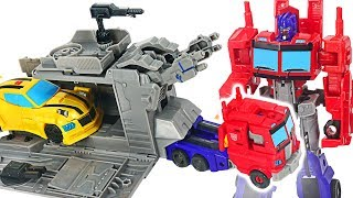 Transformers Cyberverse Warrior Class Optimus Prime with Battle Base Trailer, Bumblebee! #DuDuPopTOY