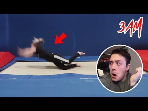 (HUGE BAIL) DO NOT JUMP ON TRAMPOLINE AT 3 AM!! (SCARY)