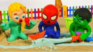 SUPERHERO BABIES PLAY WITH WATER ❤ Spiderman, Hulk & Frozen Elsa PlayDoh Cartoons For Kids