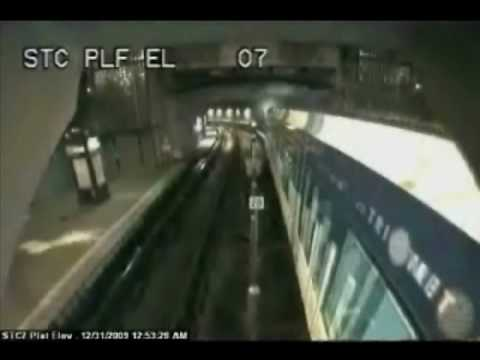 Man Falls on Train Track