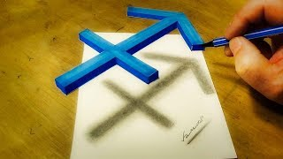 How to Draw Zodiac Symbol Sagittarius - Drawing 3D Floating Sign
