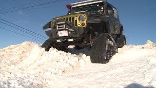 Jeep on Tracks in the Snow