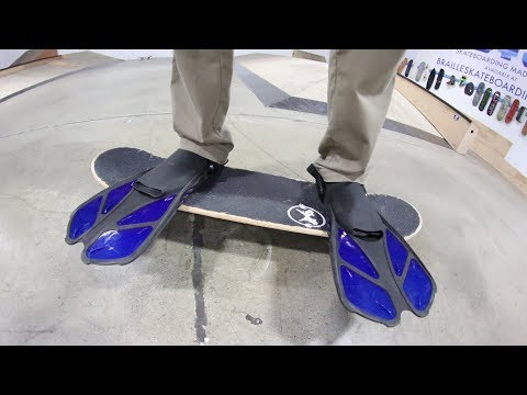 CAN YOU SKATE WEARING SWIM FLIPPERS?!   STUPID SKATE EP 115