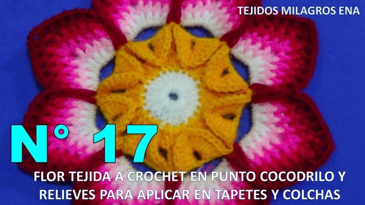 Flor Tejida A Crochet En Punto Cocodrilo Y Relieves Para Aplicar En  -> Tapetes Para Sala Tejidos A Crochet