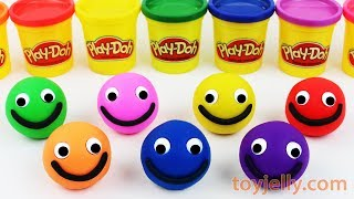 Learn Colors with 7 Color Play Doh Balls Happy Smiley Face Kinder Joy Kinder Surprise Eggs for Kids