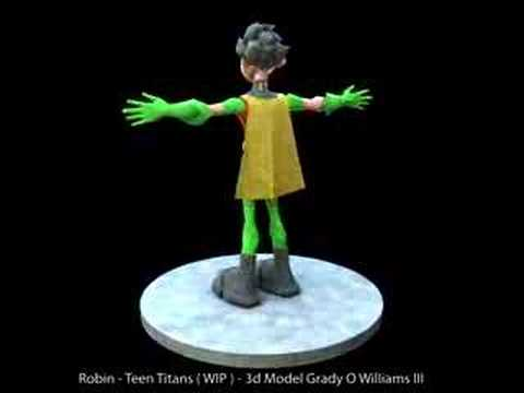 Robin - Teen Titans 3d Model Colot Comp General Modeling Progress + Color ...