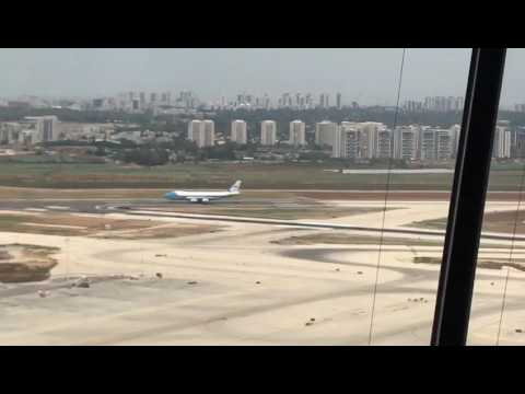 Air Force 1 touches down in Israel (View from control tower)