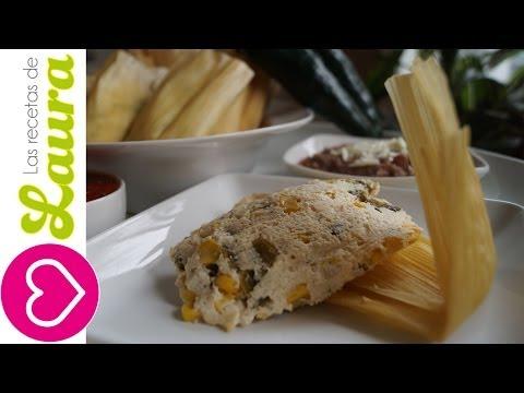 Tamales de Ricotta (requesón) con rajas y elote Recetas Saludables Tamales Recipe