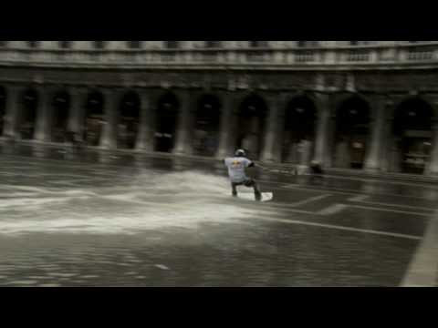 """Aqua Alta Surfing"": St. Mark s Square on a Wakeboard"