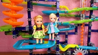 Marble Run ! Elsa and Anna toddlers - light up stacking building blocks - playdate