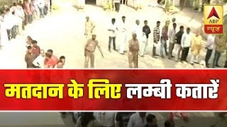 Saharanpur: People stand in long queue to cast their ballot