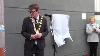 Galway Mayor Niall McNelis launches new Galway Poetry Trail Plaque at Jury's Inn, April 2019