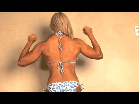 Fitness Blonde legs posing and flexing