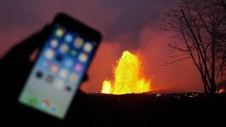 Throwing an iPhone X Into 100 FT. Lava Fissure