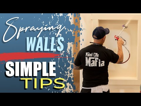 Spraying interior walls with and airless sprayer