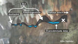 5 kilometer till frihet - svårt för pojklaget ta sig ut ur översvämmade grottan - Nyhetsmorgon (TV4)