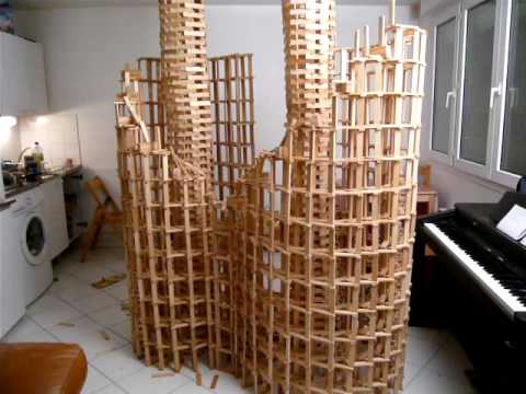 Htk 7 kapla construction destruction domino double spirale youtube for Construction bois kapla