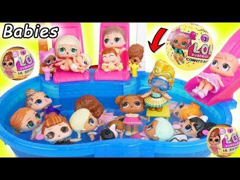 LOL Surprise! Dolls Visit Barbie Pool for Toys