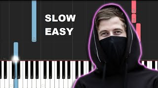 Alan Walker - Faded (SLOW EASY PIANO TUTORIAL)
