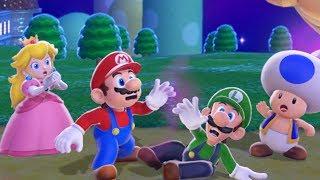 Super Mario 3D World 100% Walkthrough - World 1 (4 Players)