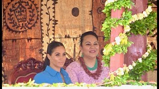 Duchess of Sussex and Princess Angelika entertained by Tupou College students in the Toloa Forest