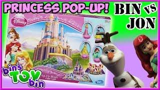 Bin Vs. Jon - Disney Princess Pop Up Magic Castle and Frozen Game!   Bin's Toy Bin