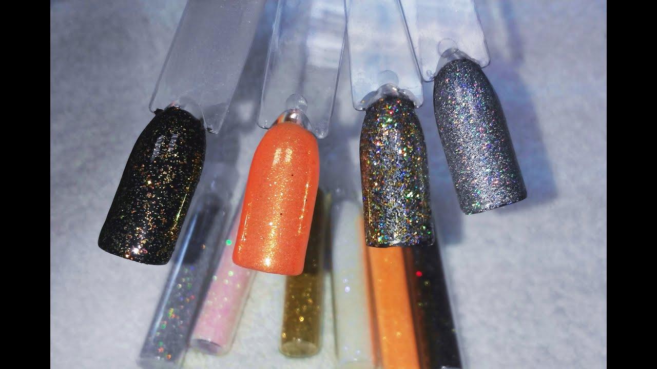 Дизайн ногтей блестящим песком