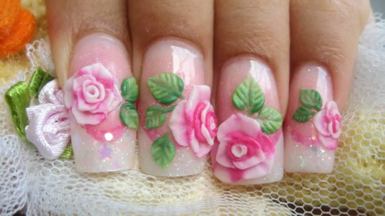 Акриловый цветок на ногтях