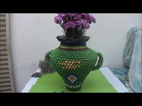 Vasija con flores naturales - Origami 3D