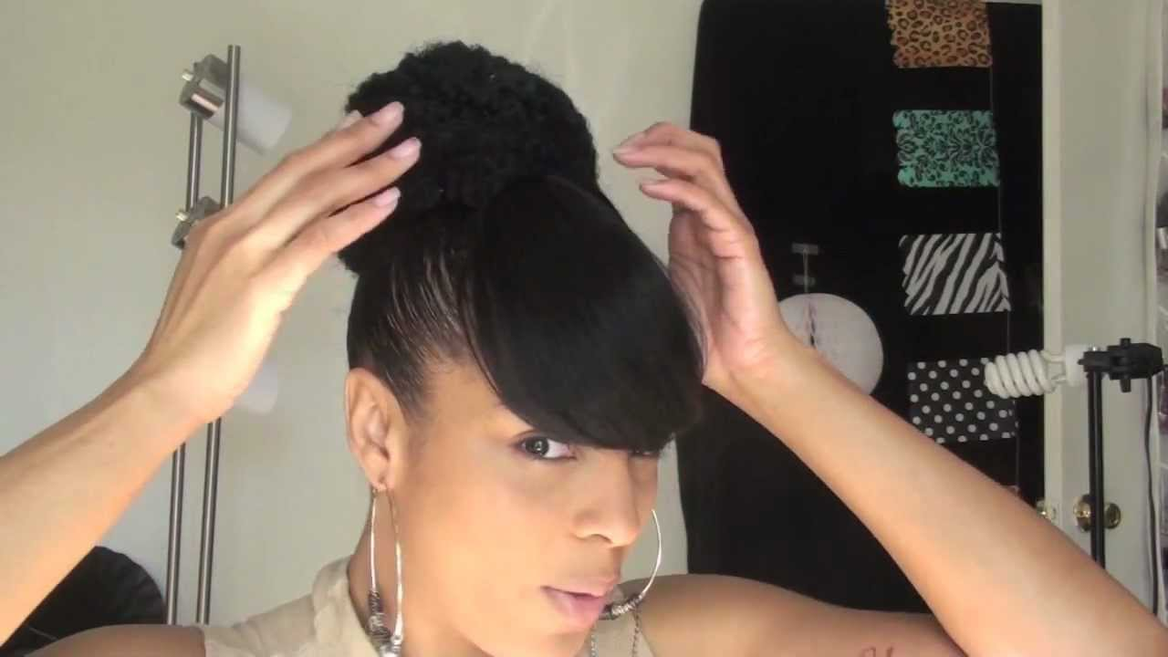 High Bun Ponytail with Bangs
