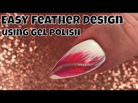 Easy Feather Design using Gel Polish