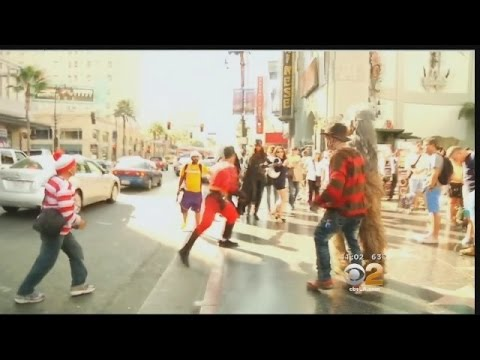 Costumed Characters Brawl On Walk Of Fame