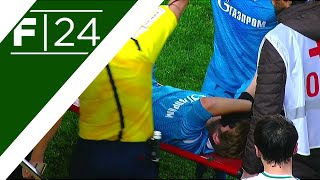 Evseev sent off then stretchered off, five minutes after coming on