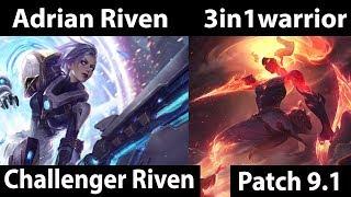 [ Adrian Riven ] Riven vs Akali [ 3in1warrior ] Top  - Adrian Riven Challenger Soloq