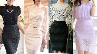 glamorous and attractive Hollywood style two peace party dress/lace pencil skirts with luxury shirts