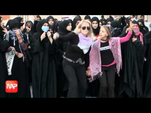 Expats leading an unauthorized protest in Bahrain