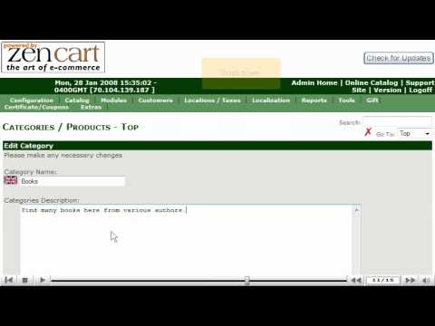 0 Adding categories to your store in ZenCart by VodaHost web hosting