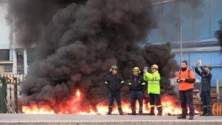 Marcha dos traballadores de Alcoa contra o peche da fábrica