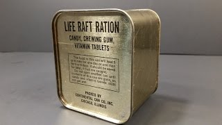 1940-1945 WW2 AAF Life Raft Ration MRE US Military Food Review Army Air Force Charms Candy Americana