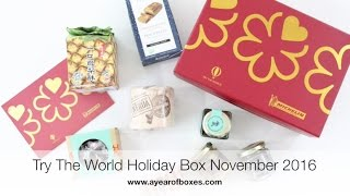 Try The World Holiday Box Subscription Box Unboxing November 2016