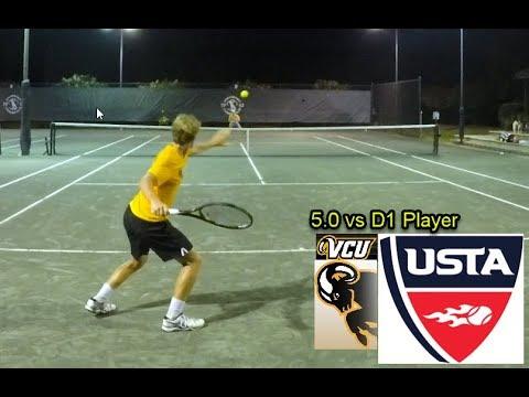NTRP 5.0 Men's Tennis - Andrew vs Karl Katlaps (D1 Player at VCU)