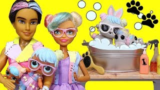 SWTAD LOL Families ! The Bon Bon Family Pets Grooming ! Toys and Dolls Fun for Kids with LOL Pets