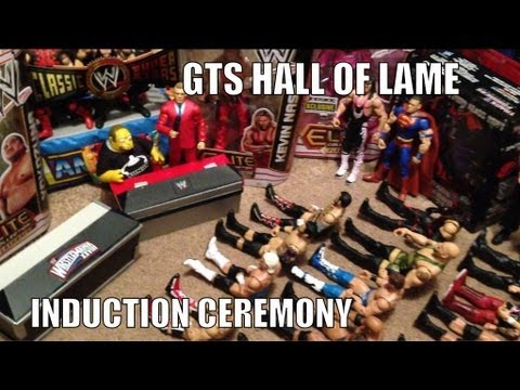 GTS HALL OF LAME Induction Ceremony: Wrestling action figures WWE Fame parody Mattel Jakks