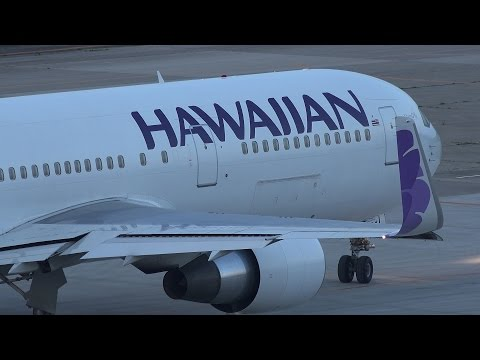 Hawaiian Airlines Boeing 767-300ER N581HA Takeoff from SDJ RWY 27