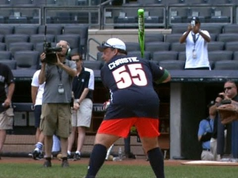 Gov. Chris Christie plays at Yankee Stadium for charity