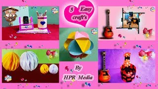 Paper Craft's Ideas | 5 Easy and Beautiful paper crafts Making Video By HPR Media