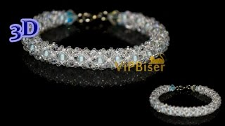 Winter Beaded Bracelet. 3D Beading Tutorial